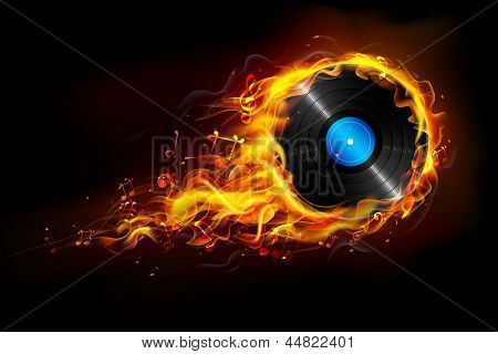 illustration of disc in fire flame for sizzling music background