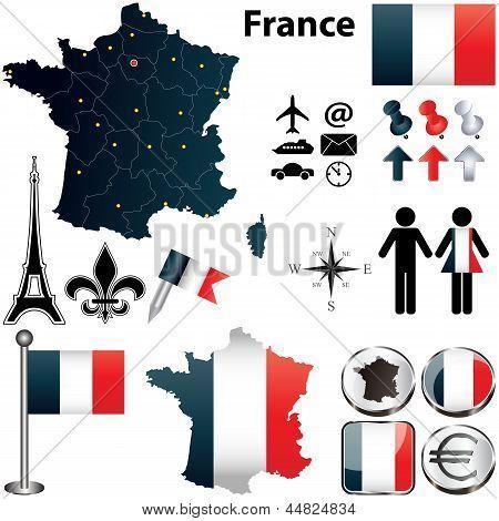 A régiók Franciaország térképe