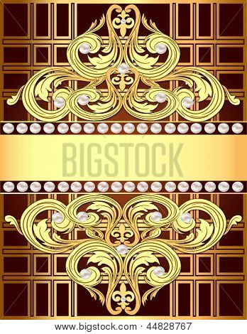 illustration background with a strip of gold ornaments and pearls poster