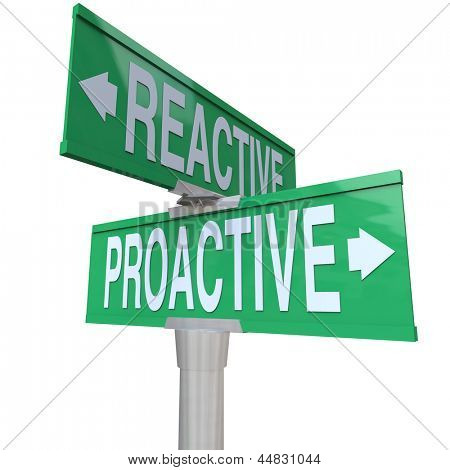 A two way green road sign with the words Proactive and Reactive making you choose between a life of taking charge and action toward meeting your goals or being passive and not achieving success poster
