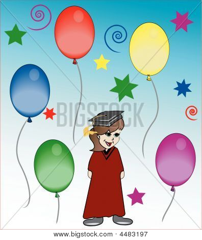 Graduate In Red With Balloons
