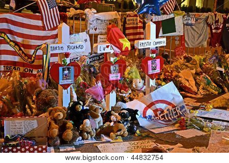 Boston - Apr 18: Memorial From Flowers On Boylston Street In Boston, Usa On April 18, 2013.