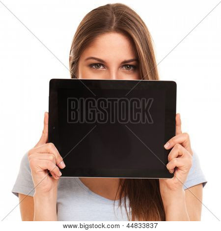 Young caucasian woman with tablet PC over white background