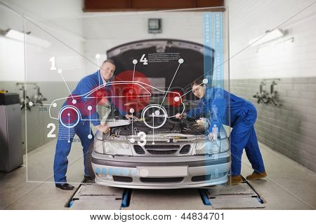 Smiling mechanics consulting futuristic interface with car diagram and statistics