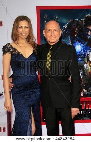LOS ANGELES - APR 24:  Daniela Lavender, Sir Ben Kingsley arrives at the