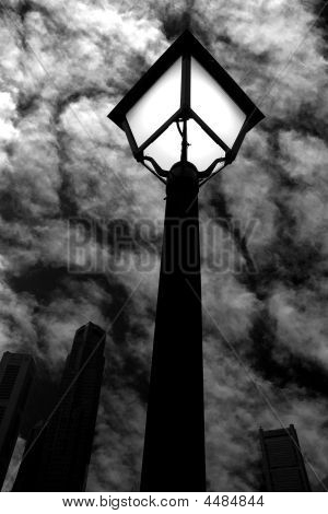 Street Light At Night Bw
