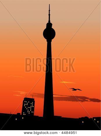 Berlin Tv Tower Agaist Sunset Sky