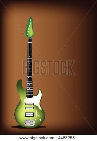 Green Electric Guitar on Dark Brown Background