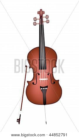 A Beautiful Brown Cello on White Background