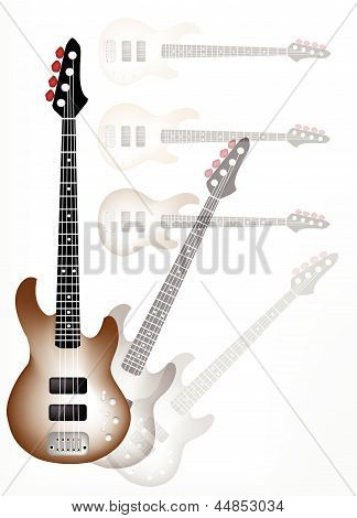 Beautiful Brown Electric Guitar with Guitar Shadow Background
