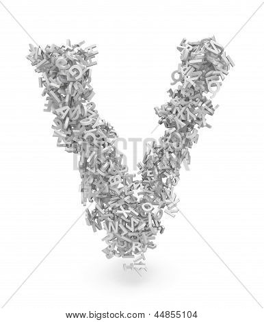 Shape Of Letter V Made From 3D Letters