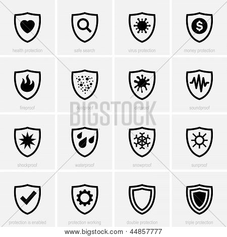 Set of protection icons on light grey background poster