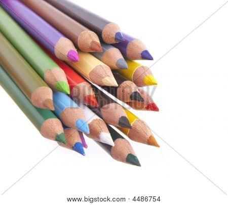 Coloured Pencils Closeup On White