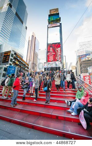 Red steps at TKTS Booth Times Square