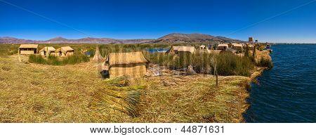 Titicaca Lake Peru Uro Huts On Floating Island Panorama