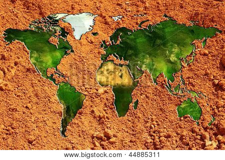World Map In Relief