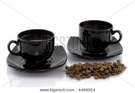 Two Cups And Coffee Beens
