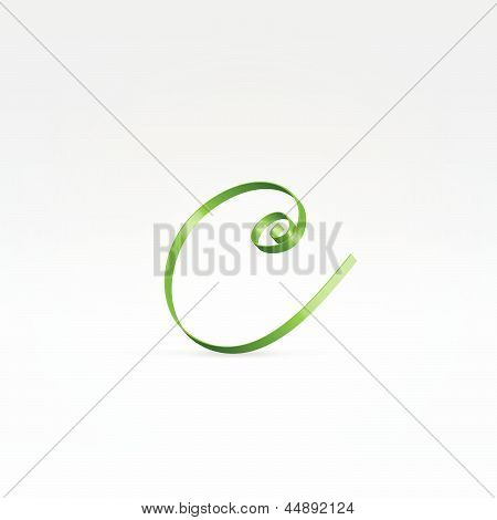 Thin Green Satin Ribbon Typeface