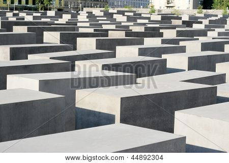 Close up detail of The concrete blocks that make up the public Memorial to the Murdered Jews of Europe. The Memorial to the Murdered Jews of Europe also known as the Holocaust Memorial (German: Holocaust-Mahnmal) is a memorial in Berlin to the Jewish vict poster
