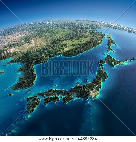 Detailed Earth. Japan And Korea