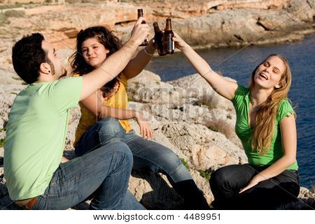 group of underage kids youth teens students drinking alcohol poster
