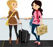 Illustration of Girls wearing a Winter Attire riding a Walkalator poster