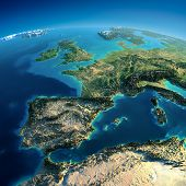Highly detailed planet Earth in the morning. Exaggerated precise relief lit morning sun. Part of Europe the Mediterranean Sea poster