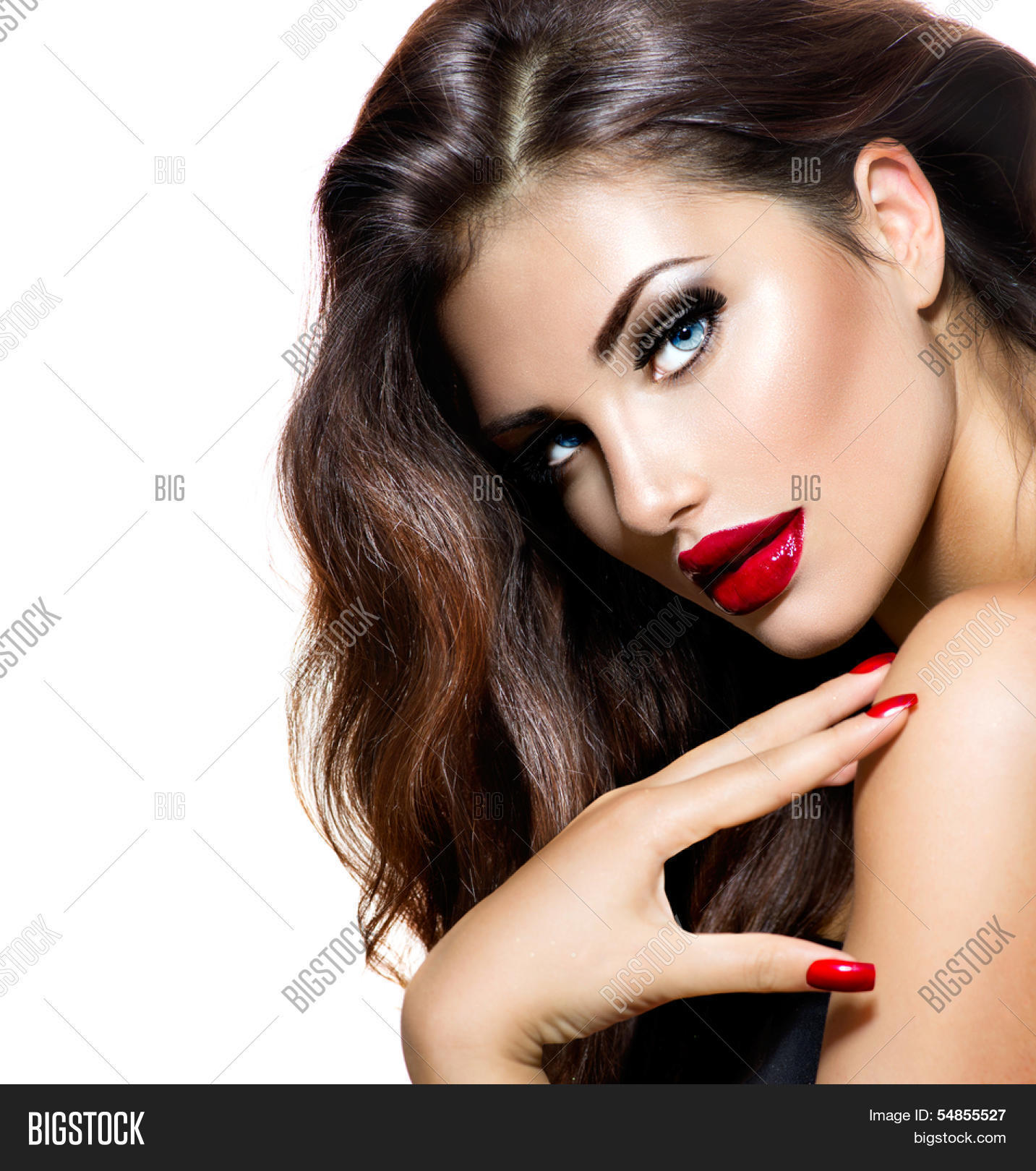 Sexy Beauty Girl Red Lips Nails Image  Photo  Bigstock-5596