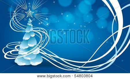 Horizontal blue 16x9 background with christmas tree
