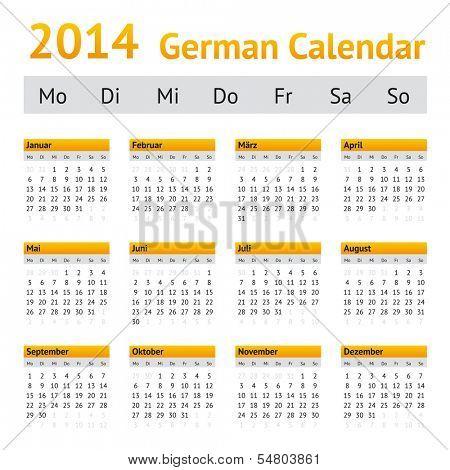 2014 German Calendar. Week starting on Monday