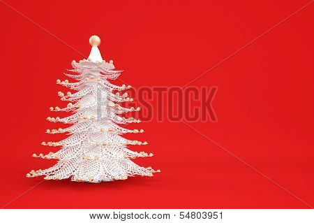 White Christmastree On Red Background