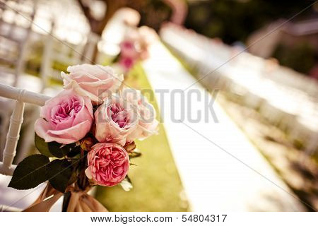Wedding chair decorated with roses
