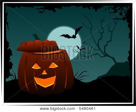Illustration of Halloween in green colour background poster
