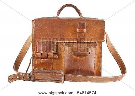 Old Brown Shoulder Bag, Isolated