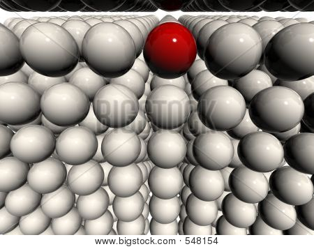 White 3d Balls Field With Single Red Orb