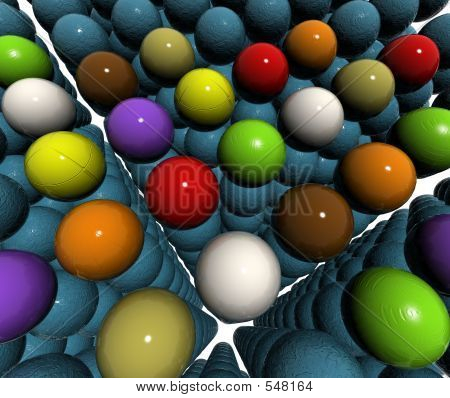 Color Balls On Blue 3d Balls Bump Texture Field