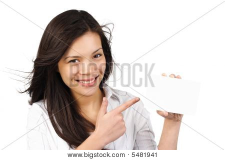 Woman Holding Blank Paper Sign / Card