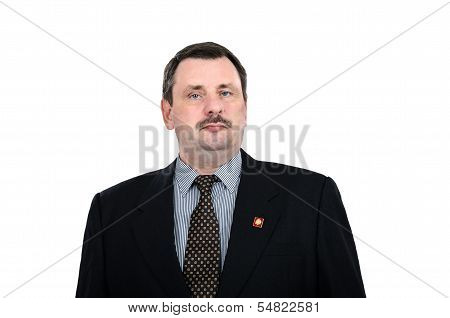 Mature Communist With Lenin Badge