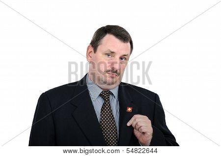 Fat Man Showing Communist Pin