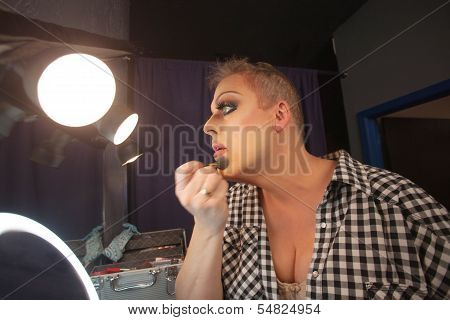 Man Preparing For Drag Queen Show