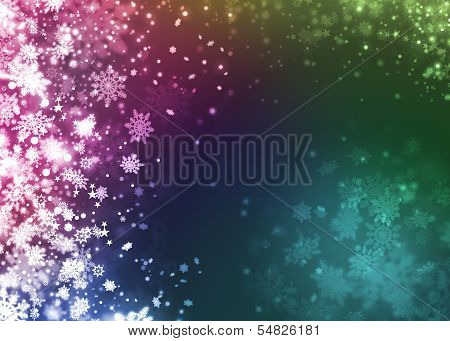 Xmas Snowflake Beautiful Colorful Abstract Background