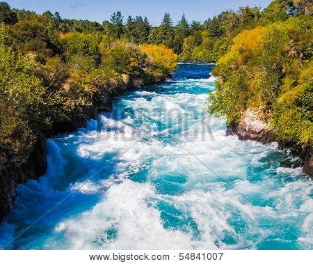 Huka Falls On The Waikato River Near Taupo