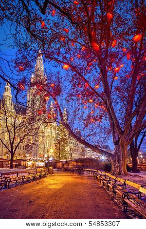 Vienna Town Hall at dusk