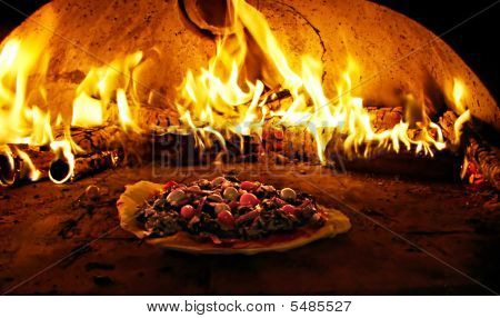 Pizza Oven Burning In Flames