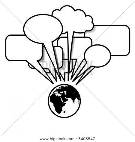 Earth Talks In Communication Speech Bubbles Eastern Hemisphere