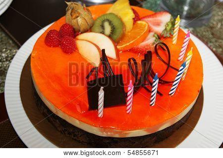 Vanilla and chocolate mousse birthday cake