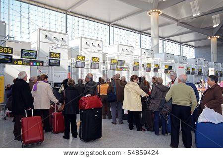 Check in queues, terminal 3, Malaga airport.