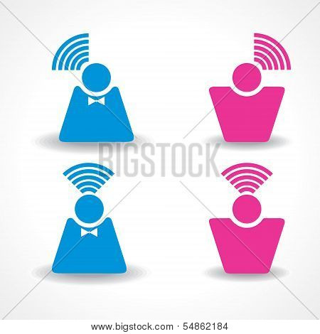 Communication and network concept with male and female employee