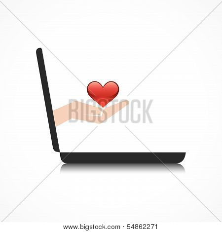 hand holding heart comes from laptop screen