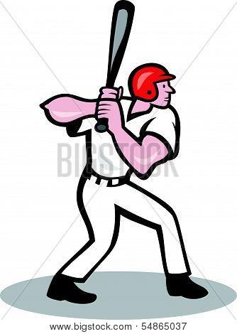 Baseball Player Batting Side Cartoon